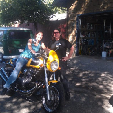 Mar 29, 2013 - Two of my favorite women in Audio - Silvia Santafé (Northward Acoustics) & Eveanna Dauray Manley (Manley Audio Labs). Silvia really liked Evenna's motorbikes... Riding is much nicer under California's weather than Brussels's. Stick to the car Silvia — with Silvia Santafé.