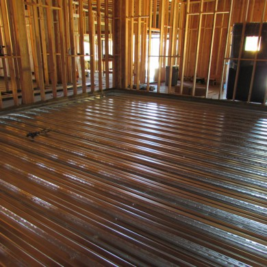 Aug 16, 2014 - Floating floors ready to be poured over the steel decks in Pasadena, California. Very clean job.