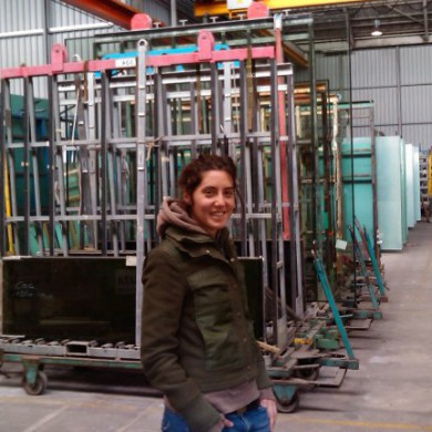 Apr 23, 2010 - Silvia Santafe waiting for our special acoustic glass order to be checked and loaded for transport at AGC Flatglass Europe's main factory.
