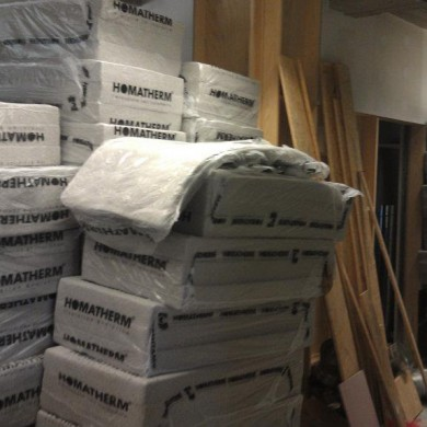 Sept 30, 2011 - Want some insulation? People not used to studio construction sites always wonder how can this all possibly fit in the room. But it does...