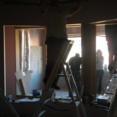 Sept 30, 2011 - TBWA Control Room B's front wall and VO Booth B starting to take shape. — with Silvia Santafé.