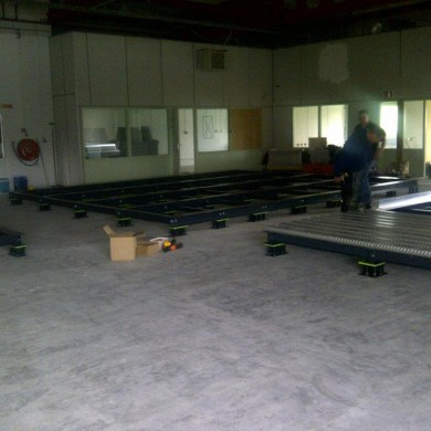 May 04, 2012 - Steel Sub-structure for the 3x Noisia Control Rooms floating floors. Neat job, good start of the build phase. — with Noisia.