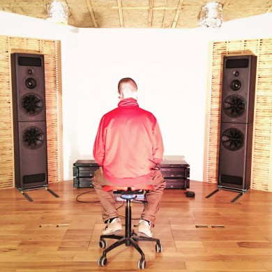 Jan 18, 2015 - Lewis having a first listening session in the room prior to testing it and finishing (fabric, lighting, etc).Test session was very successful, the custom front wall compensation system for the PMC speakers worked as planned. Room has an excellent response. All good!