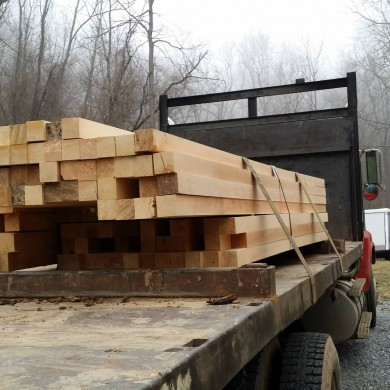 Jan 18, 2015 - Ayous wood for Mark Pinkston's diffusors arrive on site in North Carolina. A few hours of cutting and sanding ahead... — in Canton, North Carolina.