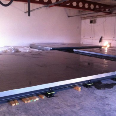 May 10, 2012 - Noisia's Control Room floated floors ready with concrete poured.