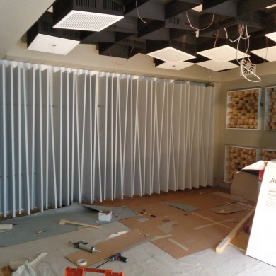 Aug 18, 2015 - Live Room closer to finish @ Hannes Haindl. Had fun desiging a bit of a different diffusor type for the left and right walls. Playing with incidence/phase grating. They miss some parts on the photo, but you get the idea. They're fairly deep, up to 420mm. The ceiling has slotted type absorbers tuned (wide Q) around typical kick and snare drums frequencies - which should allow good control of LF and keep the room sufficiently 'live' and manage HF dispersion at the same time. Can't wait to see how the room turns out! — in Hamburg, Germany.