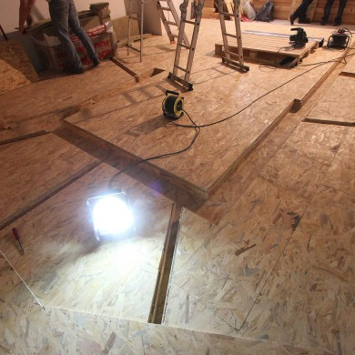 Oct 09, 2015 - Concrete floating floor (already wrapped in OSB) and cable ducts finalized @ Belgium's National Theater's future 5.1 studio.