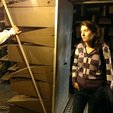 Nov 05, 2015 - Silvia Santafé is lost in her thoughts while visiting and inspecting the Anechoic Chamber @ Gibson in Leuven. — in Leuven, Belgium.
