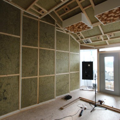 Feb 02, 2016 - Room ready for upholstering @ KMS Mastering in Contra, Switzerland, and tested the FTB room that passed with flying colors. A small room with a big sound and a big view on the Lake Maggiore and valley. Some work is left, but mostly cosmetic. Thanks again to the local team for the help on site and the good spirits. Build by @proaudioconsultingsrl