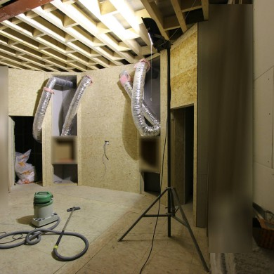 Apr 04, 2016 - Progress @ Jef Martens. Membranes ready for install and front wall getting ready for speaker decoupling nacelles preliminary install next week, rest of front wall cavity treatment and final front wall layers. (Sorry about the blur)