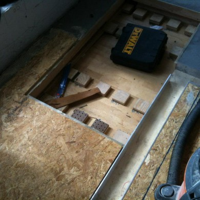 Oct 11, 2012 - Getting Floating floor done @ Josh Bonati Mastering. His beautiful Neumann Lathe has it's own little Regufoam 220 floating floor tuned to F(n)=7Hz to avoid any transmission of vibrations from the Mastering Suite's floating floor or the building's structure to the lathe.